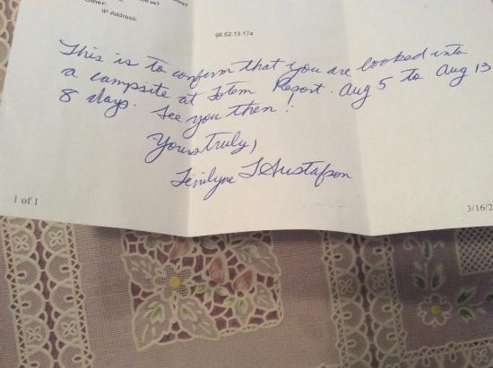 Totem Motel & Resort: Confirmation letter