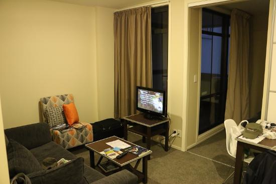 the living room part of our hotel room at quest on queen picture rh tripadvisor com