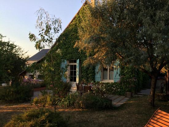 Le Clos du Haut Villiers : Dîner en terrasse sous le soleil du soir ;-)