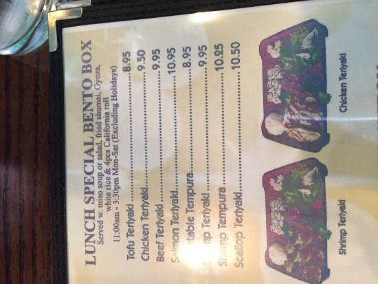 Fume Asian Grill & Sushi: some of the lunch menu options