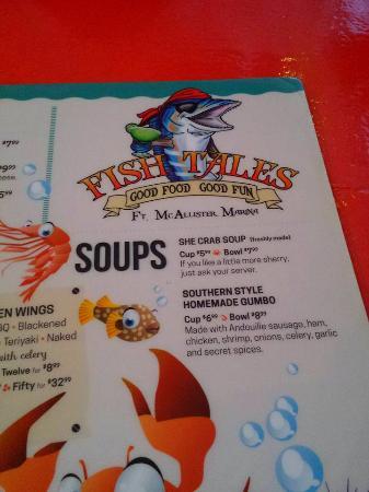 The menu picture of fish tales richmond hill tripadvisor for Fish tales menu