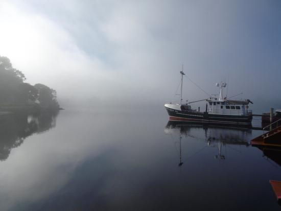 Sarah Island: Macquarie harbour fog starting to lift