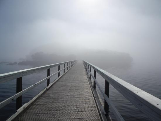 Sarah Island: first off the vessel to walk along the boardwalk