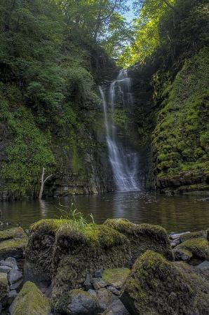 """Sgwd Einion Gam: The waterfall from below the """"step"""""""