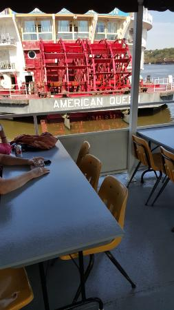 Dubuque, IA: Going by a luxury paddle boat cruiser