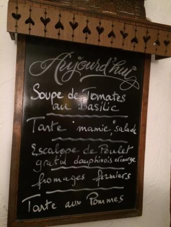 Le Grand Chalet : Le menu de jour