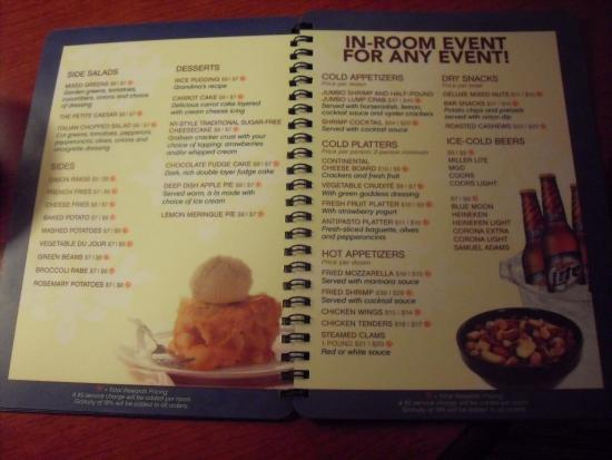 Front Cover Of Room Service Menu Picture Of Bally S