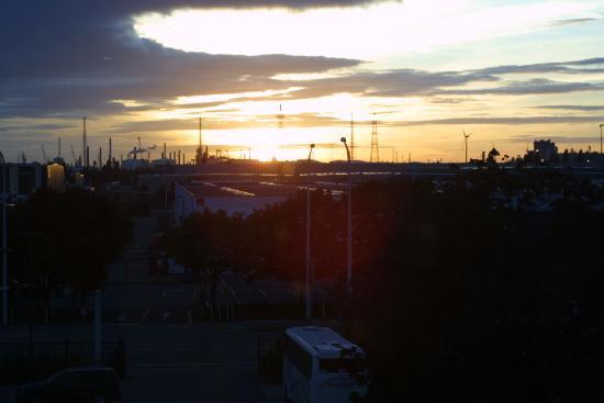 Ibis Budget Antwerpen Port: From Ibis window -sunset over Antwerp's docks