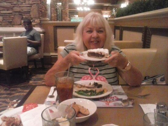 Feast Buffet at Green Valley Ranch: My wife enjoying the food.