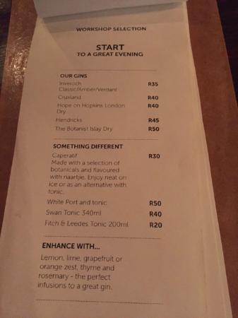 Drinks Menu Picture Of Workshop 55 Johannesburg Tripadvisor
