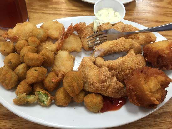 Mount Vernon, KY: This past Friday's special; deep fried Okra, Shrimp, catfish and Hushpuppies. All was wonderful.
