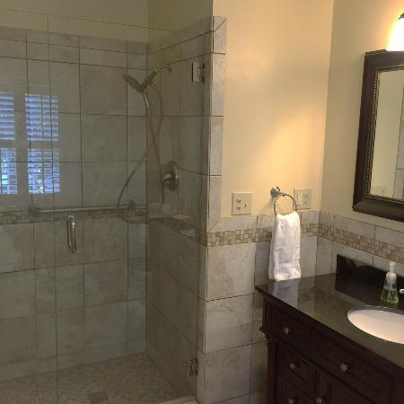 Marigny Manor House: The Chartres bathroom with walk-in shower