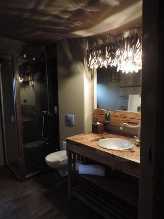 magnifique salle de bain photo de les lodges du pal. Black Bedroom Furniture Sets. Home Design Ideas