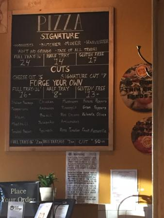 Old Forge Pizza co: Menu board