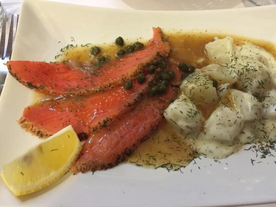 Alto Pass, IL: Amazing Gravlax and Potatoes with Dill Cream Sauce Appetizer