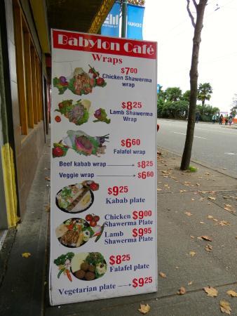 Babylon Cafe: Street Menu
