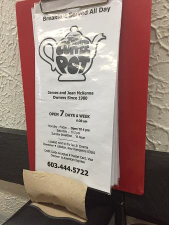 The Coffee Pot Restaurant: Restaurant menu