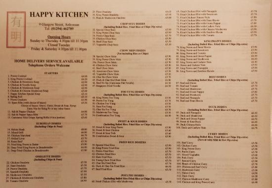 Menu Picture of Happy Kitchen Ardrossan TripAdvisor