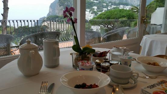 Casa Morgano: Vista do Café da Manhã na área coberta (Recepção)