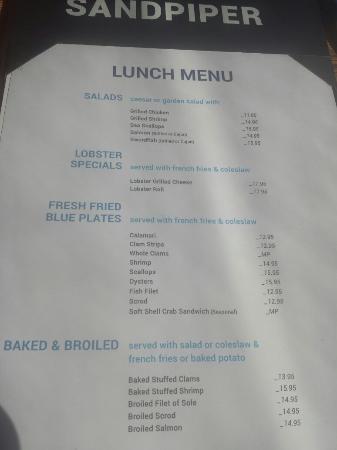 Sandpiper Restaurant Lunch Memu