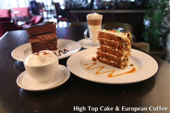 Symposium Cafe Restaurant & Lounge: Decadent Cake Slices & European Coffees