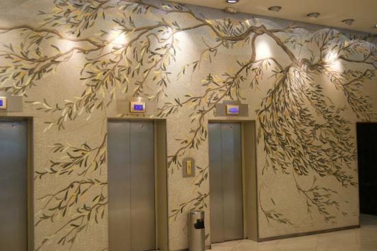Beautiful Olive Tree Mosaic On The Elevator Walls
