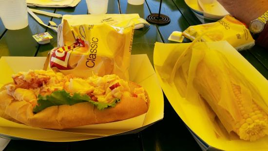 Bernard, ME: Thurston's Lobster Pound_Lobster Roll, Chips & Corn on the cob
