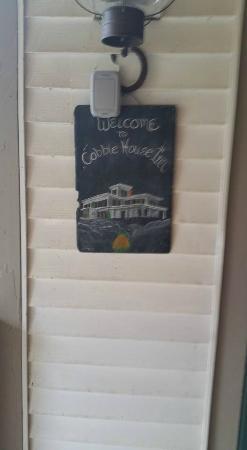 Stockbridge, VT: Welcome sign on the door