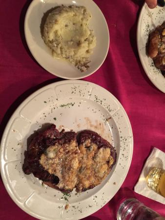 Laurel Supper Club: Delicious salad, popover, and steak with garlic mashed potatoes!