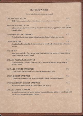Ukiah, CA: Lunch menu