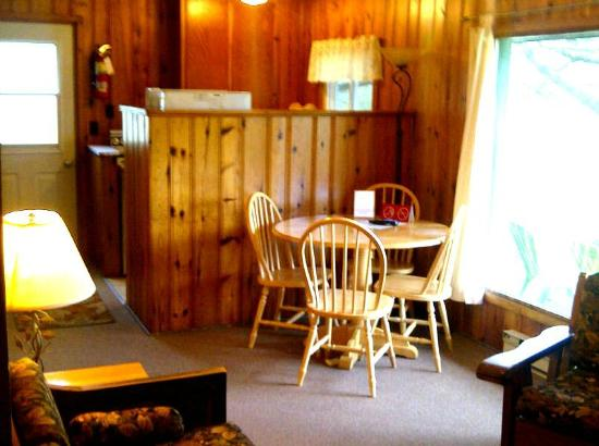 "Logging Chain Lodge: ""A"" cottage interior"