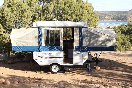 Navajo Dam, NM: Camper at Pine River Campground.