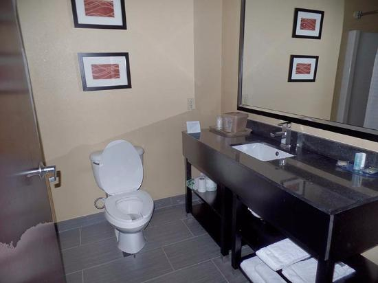 Comfort Inn & Suites: The bathroom had just been remodeled and is clean and functional. But no hot water in the mornin