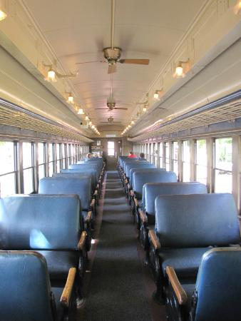 Downeast Scenic Railroad: Inside 1917 passenger car