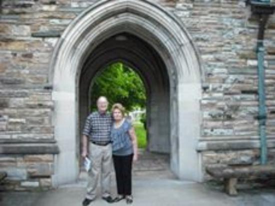 Scarritt-Bennett Center: My husband & I in front of the arch at the bell tower
