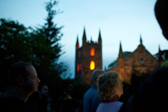 Port Arthur Ghost Tours : Lights from the burn down church