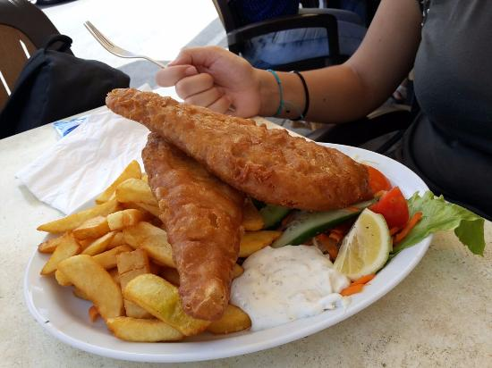 Fish chips picture of carrubia restaurant marsaxlokk for Fish chips restaurant