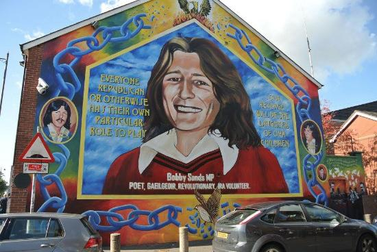 Bobby sands mural picture of belfast famous black taxi for Bobby sands mural