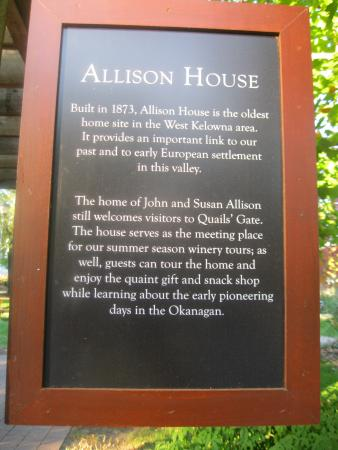 West Kelowna, Canada: ALLISON HOUSE INFORMATION