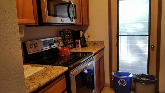 Half of the kitchen, the other side had a fridge, sink, and ...