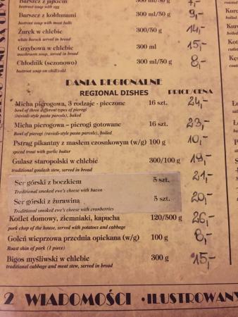 Menu Bild Von Kuchnia Staropolska U Babci Maliny Krakau Tripadvisor