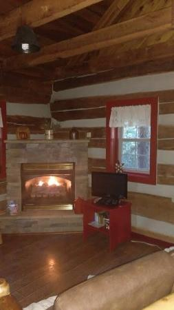 Hocking Hills Frontier Log Cabins: Nice cozy fireplace