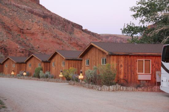 Expansive lodging with river running behind cabins for Moab utah cabins