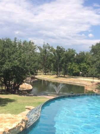 Log Country Cove : View of Colorado River and Pool from Creek Side cabin