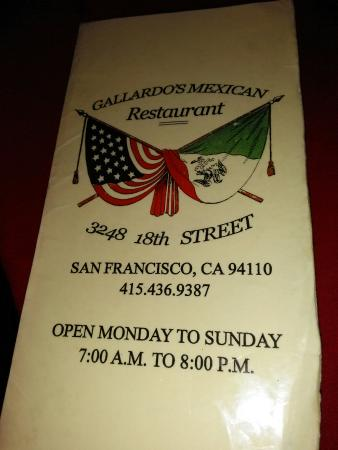 Photo of Mexican Restaurant Gallardos Mexican Food at 3248 18th St, San Francisco, CA 94110, United States