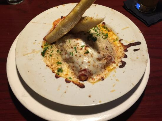 Two Tonys Taverna Grille: A steak salad and some very cheesey lasagna. Delicious!