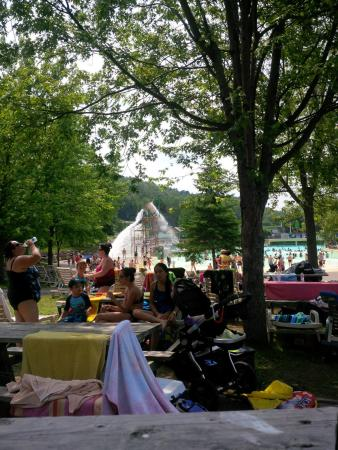 Mont Saint-Sauveur Parc Aquatique: Pic nic area and wave pool in the back ground