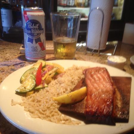 Fresh salmon dinner picture of cedar reef fish camp for Cedar reef fish camp menu