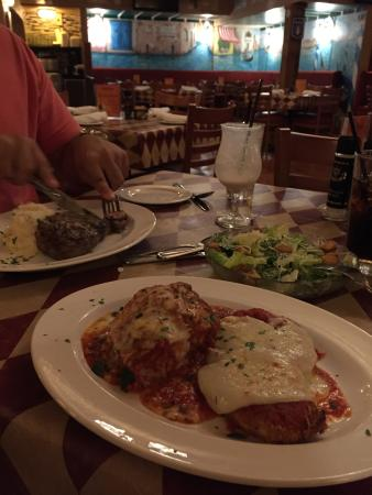 DiGiorgio's Cafe Largo: Lasagna with parmisian chicken and a NY strip!