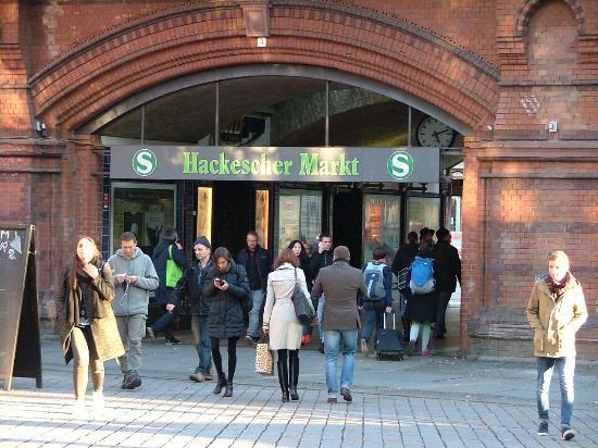 Hotel Hackescher Markt: S-bahn Station, 2 minutes away, tram station thru walkway